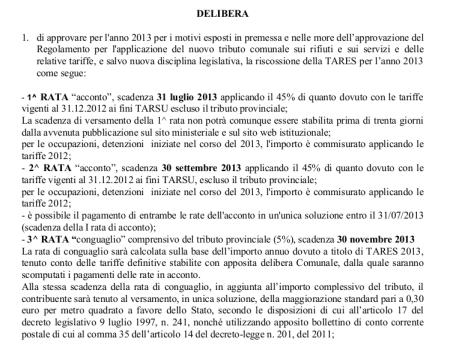 Regolamento TARES 2013