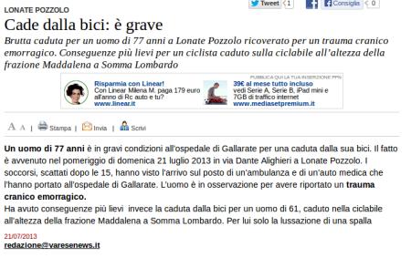 Varesenews del 21 luglio 2013