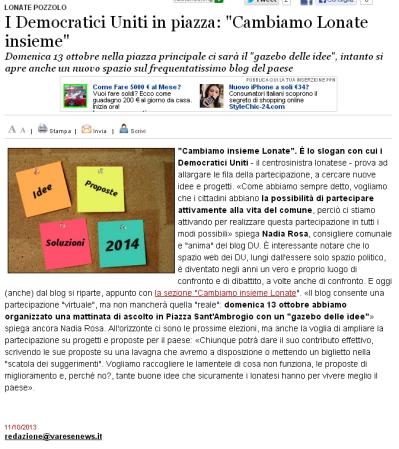 Varesenews del 11 ottobre 2013
