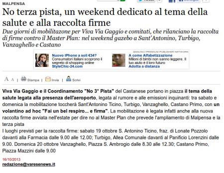 Varesenews del 16 ottobre 2013
