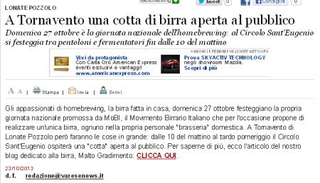 Varesenews del 23 ottobre 2013