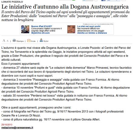 Varesenews del 25 ottobre 2013