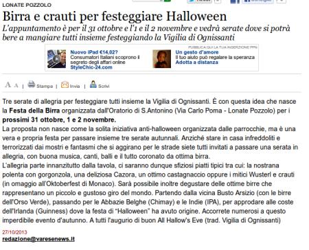 Varesenews del 27 ottobre 2013