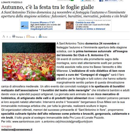 Varesenews del 11 novembre 2013