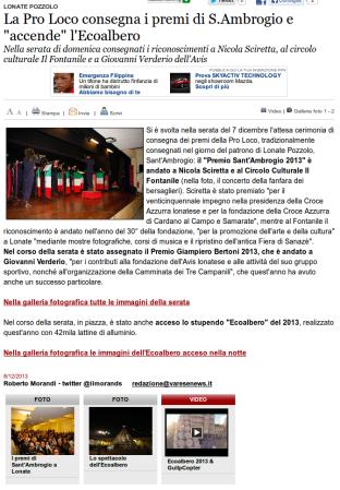 Varesenews del 8 dicembre 2013