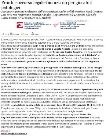 Varesenews del 27 marzo 2014