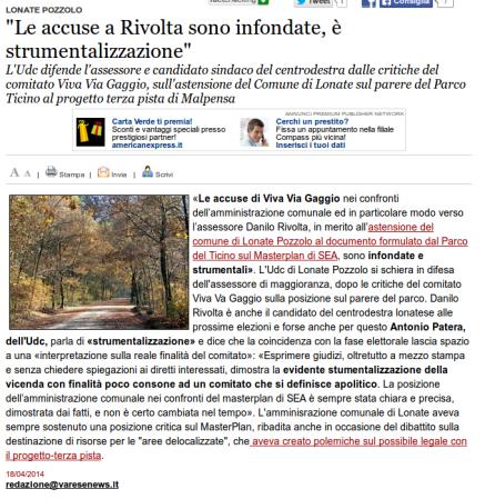 Varesenews del 18 aprile 2014