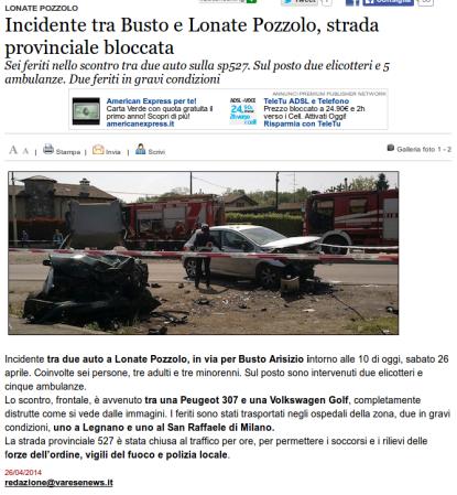 Varesenews del 26 aprile 2014