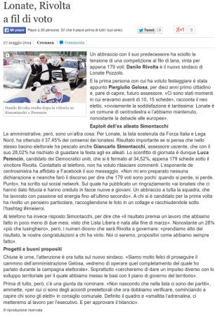 La Provincia del 27 maggio 2014