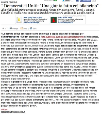 Varesenews del 9 giugno 2014