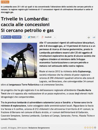 Bergamonews del 30 giugno 2014