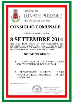 Consiglio Comunale del 8 settembre 2014