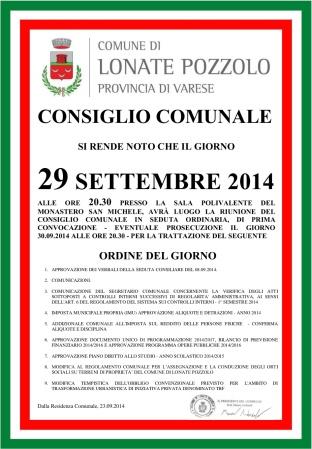 Consiglio Comunale del 29 settembre 2014