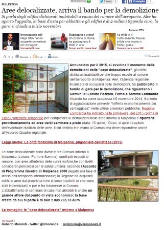 Varesenews del 16 ottobre 2014
