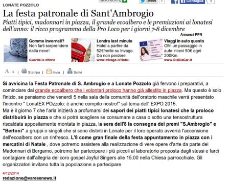 Varesenews del 4 dicembre 2014