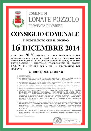 Consiglio Comunale del 16 dicembre 2014