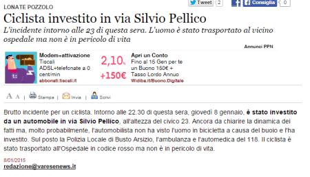 Varesenews del 8 gennaio 2015