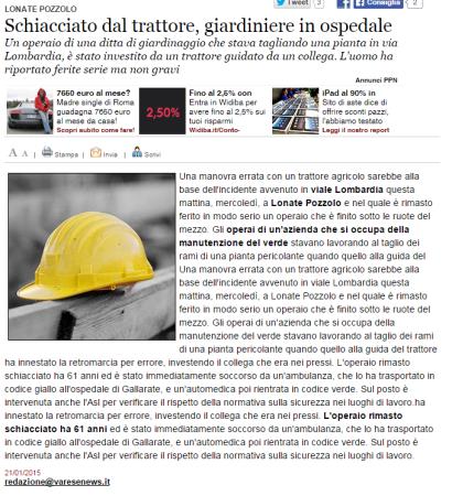 Varesenews del 21 gennaio 2015