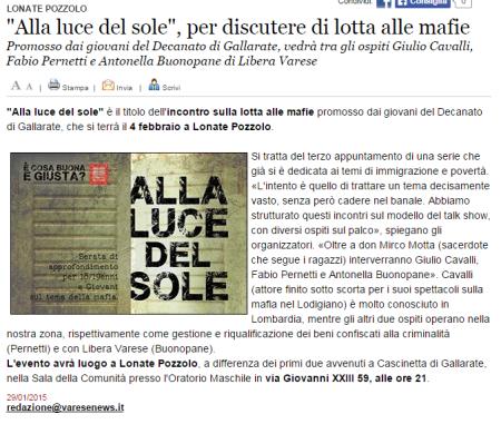 Varesenews del 29 gennaio 2015