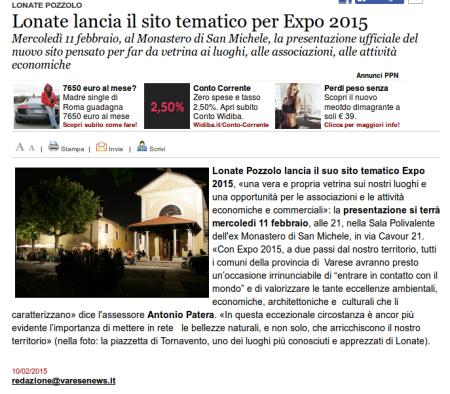 Varesenews del 10 febbraio 2015