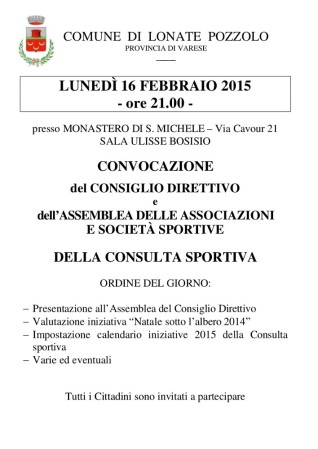 Convocazione consulta sportiva