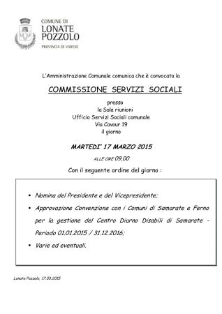 Commissione Servizi Sociali