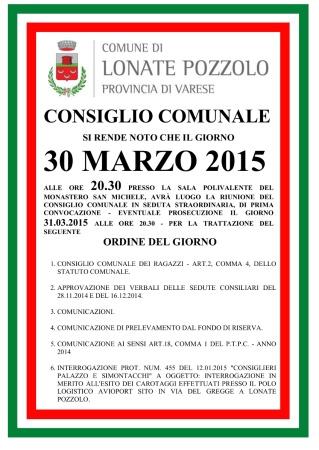 Consiglio Comunale del 30 marzo 2015