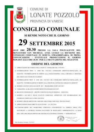 Consiglio Comunale del 29 settembre 2015