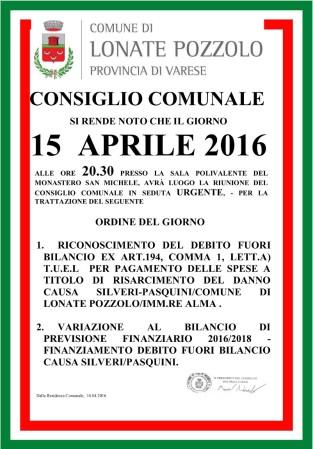 Consiglio Comunale del 15 aprile 2016