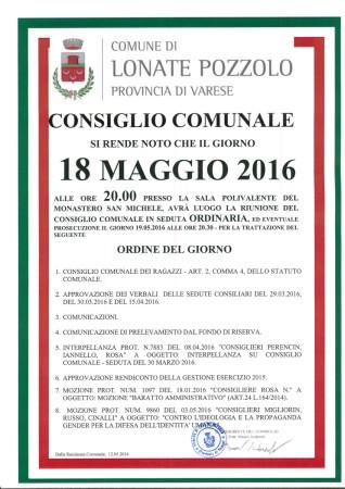 Consiglio Comunale del 18 maggio 2016