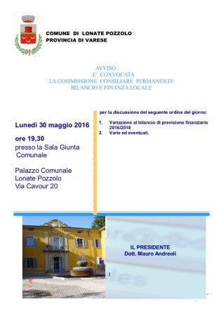 Commissione Bilancio del 30 maggio 2016