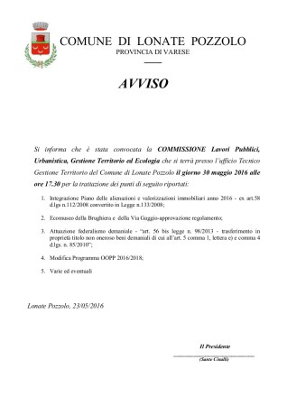 Commissione Tecnica del 30 maggio 2016