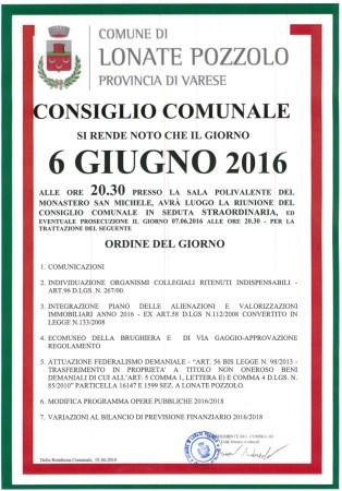 Consiglio Comunale del 6 giugno 2016