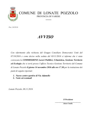Commissione Tecnica del 14 novembre 2016