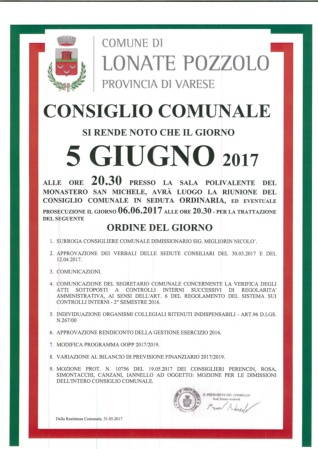 Consiglio Comunale del 5 giugno 2017